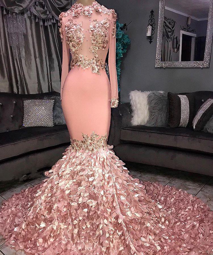 Atemberaubende Rundhals Blume Langarm Pailletten Mermaid Prom Dresses