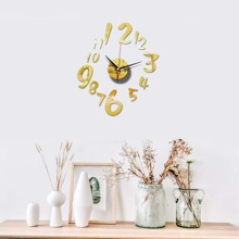 1set Mirror Surface Wall Clock