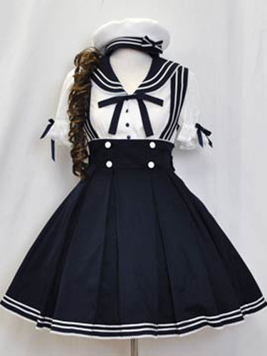 Milanoo Sailor Lolita Outfits Deep Blue Short Sleeve Shirt With Pleated Jumper Skirt