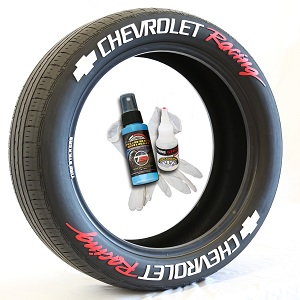 Tire Stickers CHVYRACING-1718-125-8-B Permanent Raised Rubber Lettering 'Chevrolet Racing' Logo - 8 of each - 17