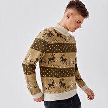 Pullover mit hohem Kragen und Weihnachten Muster