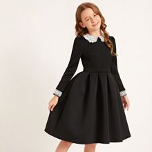 Girls Lace Peter Pan Collar Applique Boxy Pleated Dress
