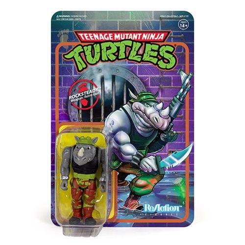 Teenage Mutant Ninja Turtles Rocksteady 3  3/4-Inch ReAction Figure