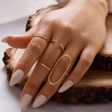 4pcs Simple Metallic Ring