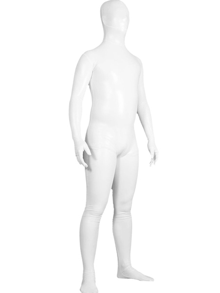 Milanoo Disfraz Halloween Zentai unisex de brillo metalico de color blanco  Halloween