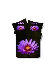 Fancy Bright Purple Flower Pattern 5-Piece Comforter Sets