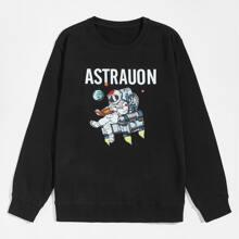 Pullover mit Astronaut und Buchstaben Grafik