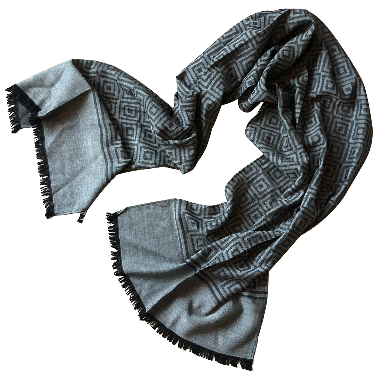 Non Signé / Unsigned N Grey Wool scarf & pocket squares for Men N