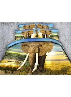 3D African Elephant Printed Cotton 4-Piece Bedding Sets/Duvet Covers