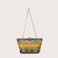Snakeskin Print Clip Top Shoulder Bag