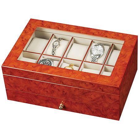 Oak Finish Watch Box, One Size , Brown