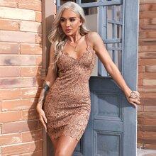 Lace Overlay Cami Bodycon Dress
