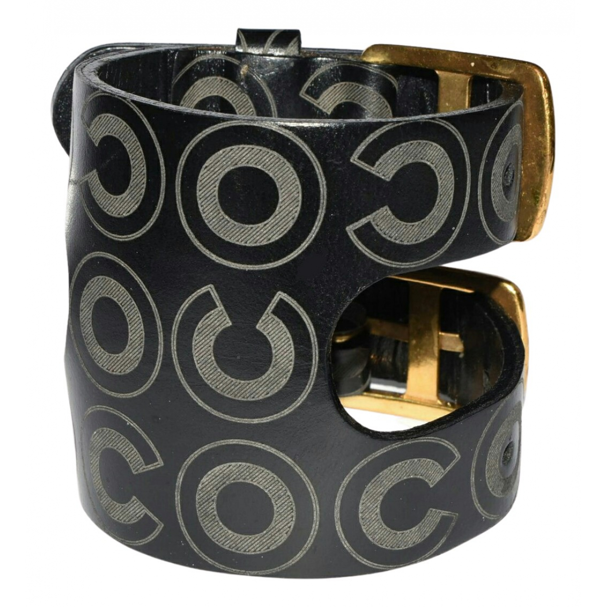 Chanel N Black Leather bracelet for Women N