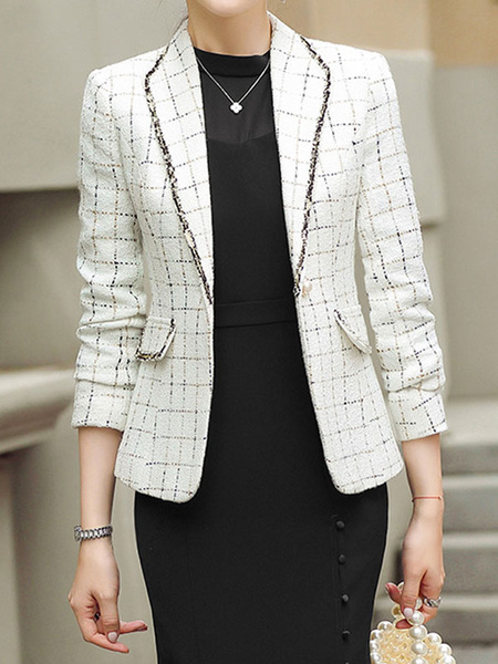 Milanoo Women\s Blazer White Turndown Collar Buttons Long Sleeves Geometric Polyester Short Tailored Jacket