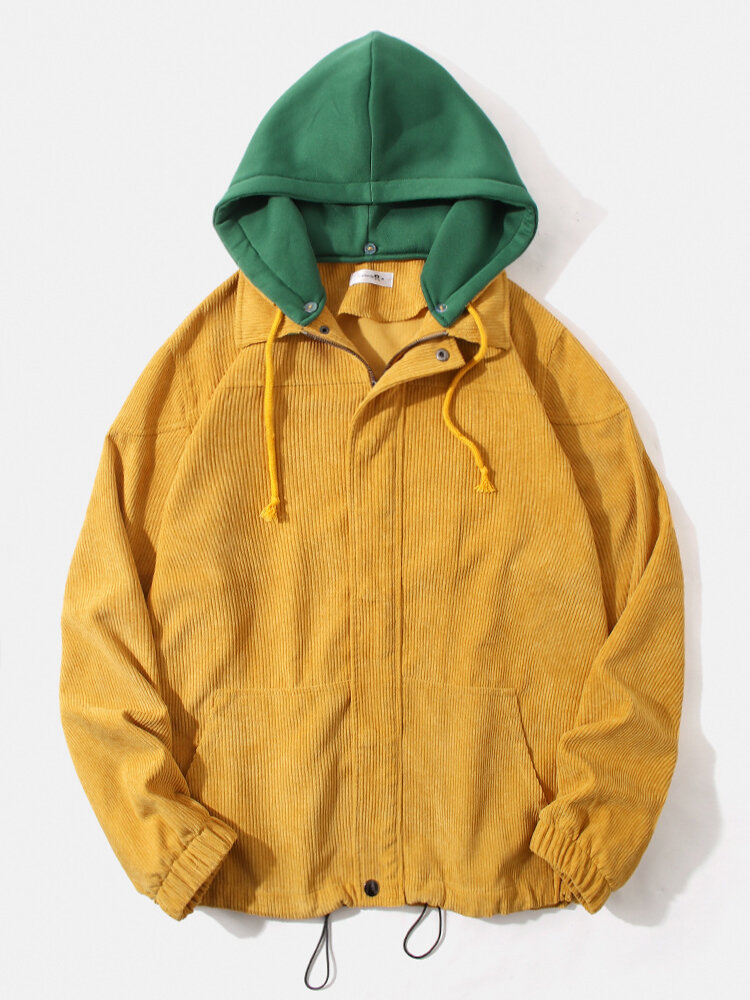 Mens Corduroy Contrast Color Zipper Hooded Jacket With Draw Cords Hem