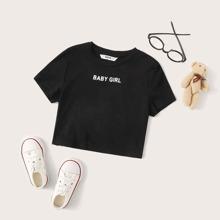 Camiseta de niñas con estampado de letra