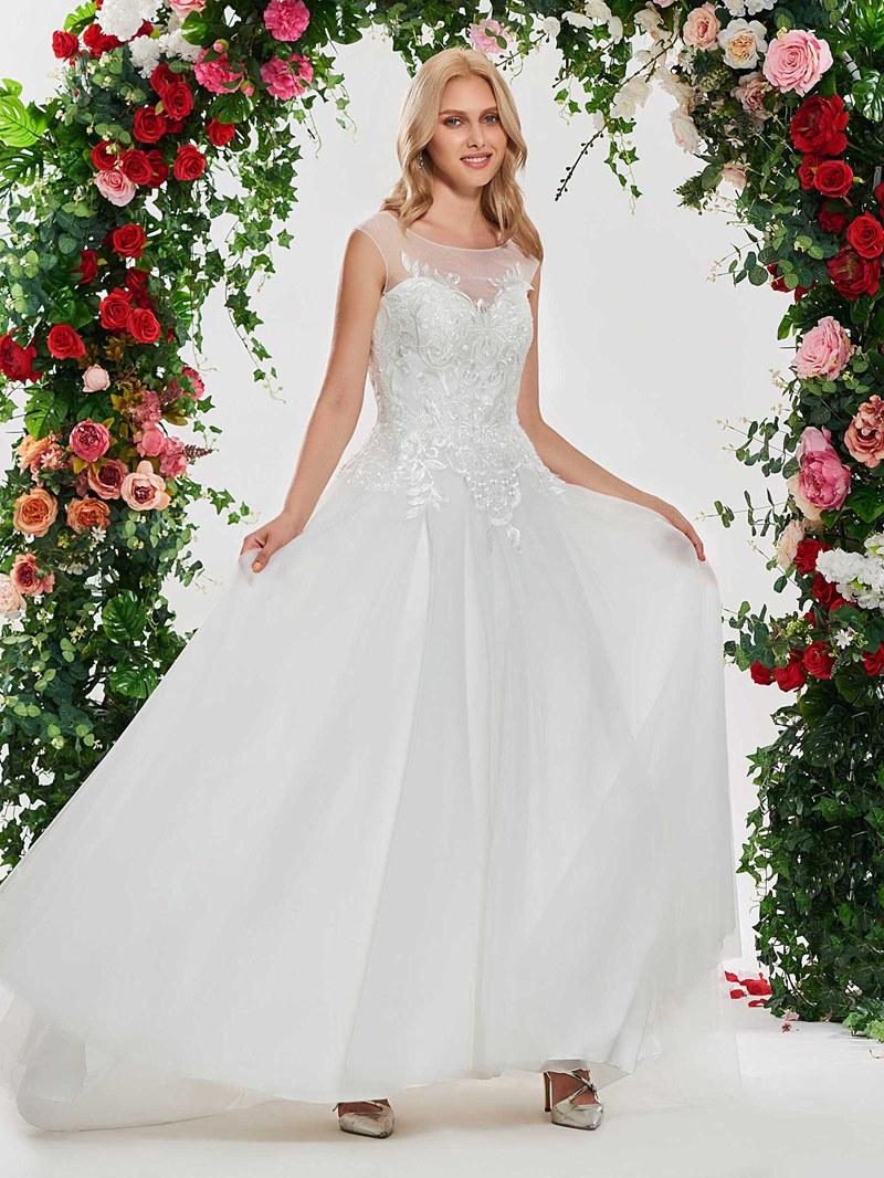 Ericdress Scoop Neck Appliques Backless Wedding Dress