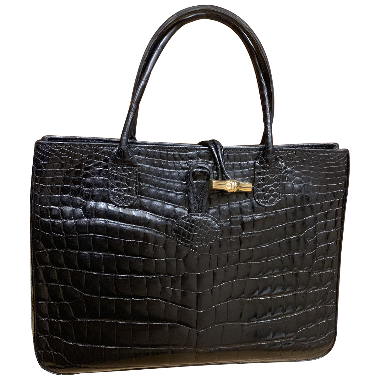Longchamp Roseau Black Crocodile handbag for Women \N