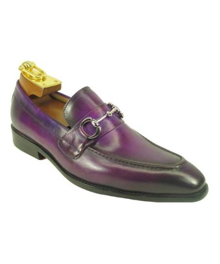 Men's Slip On Leather Fashionable Shoe Purple With Top Silver Buckle