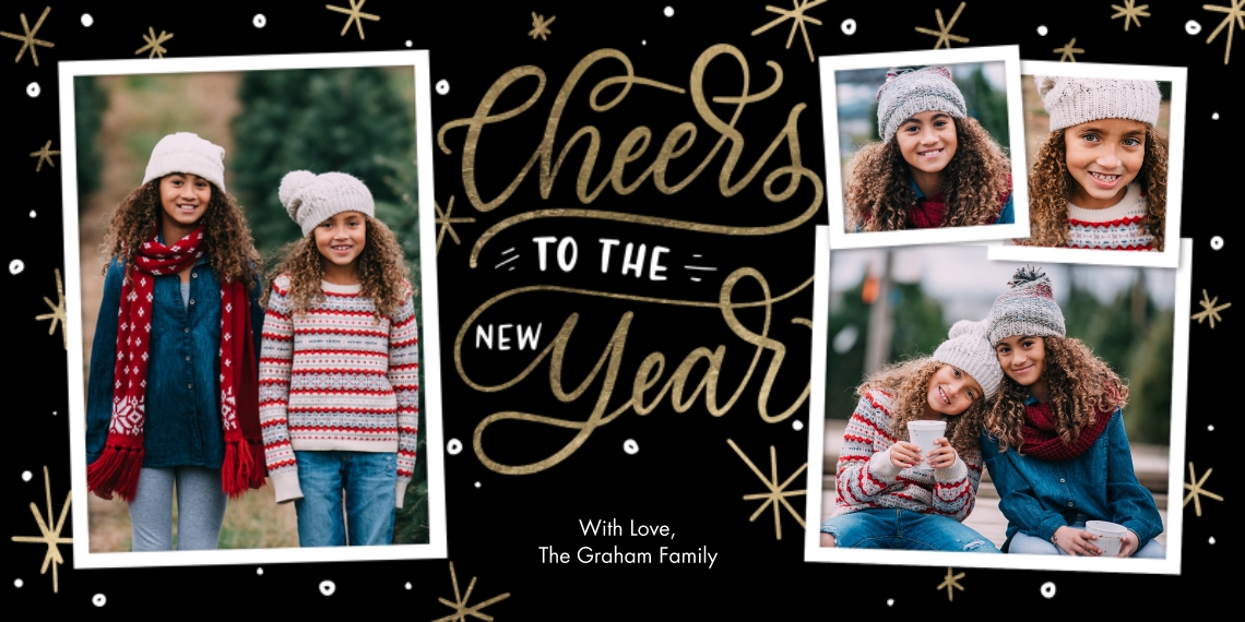 New Year's Photo Cards Flat Matte Photo Paper Cards with Envelopes, 4x8, Card & Stationery -New Year Cheers Gold by Tumbalina