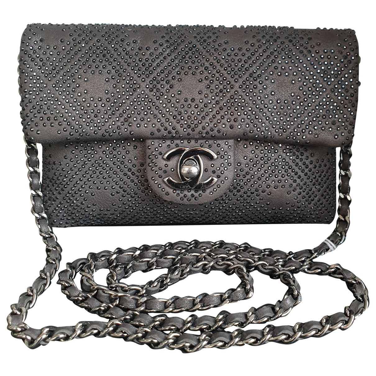 Chanel Wallet on Chain Grey Glitter Clutch bag for Women \N