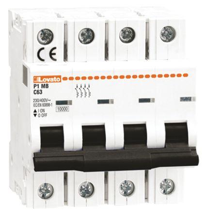 Lovato ModuLo 1 A MCB Mini Circuit Breaker, 4P Curve B