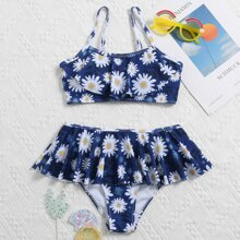 Girls Daisy Floral Ruffle Skirt Bikini Swimsuit
