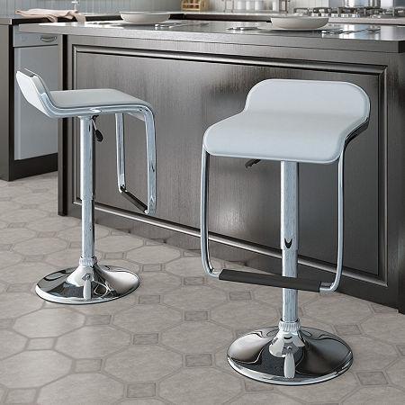 Adjustable Bar Stools with Footrests- Set of 2, One Size , Black