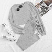 Drop Shoulder Rib-knit Crop Top & Knot Waist Leggings Set