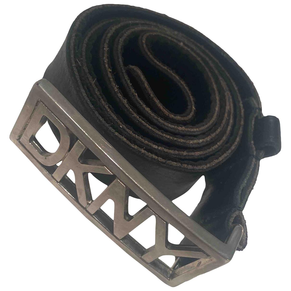 Dkny \N Black Leather belt for Women S International