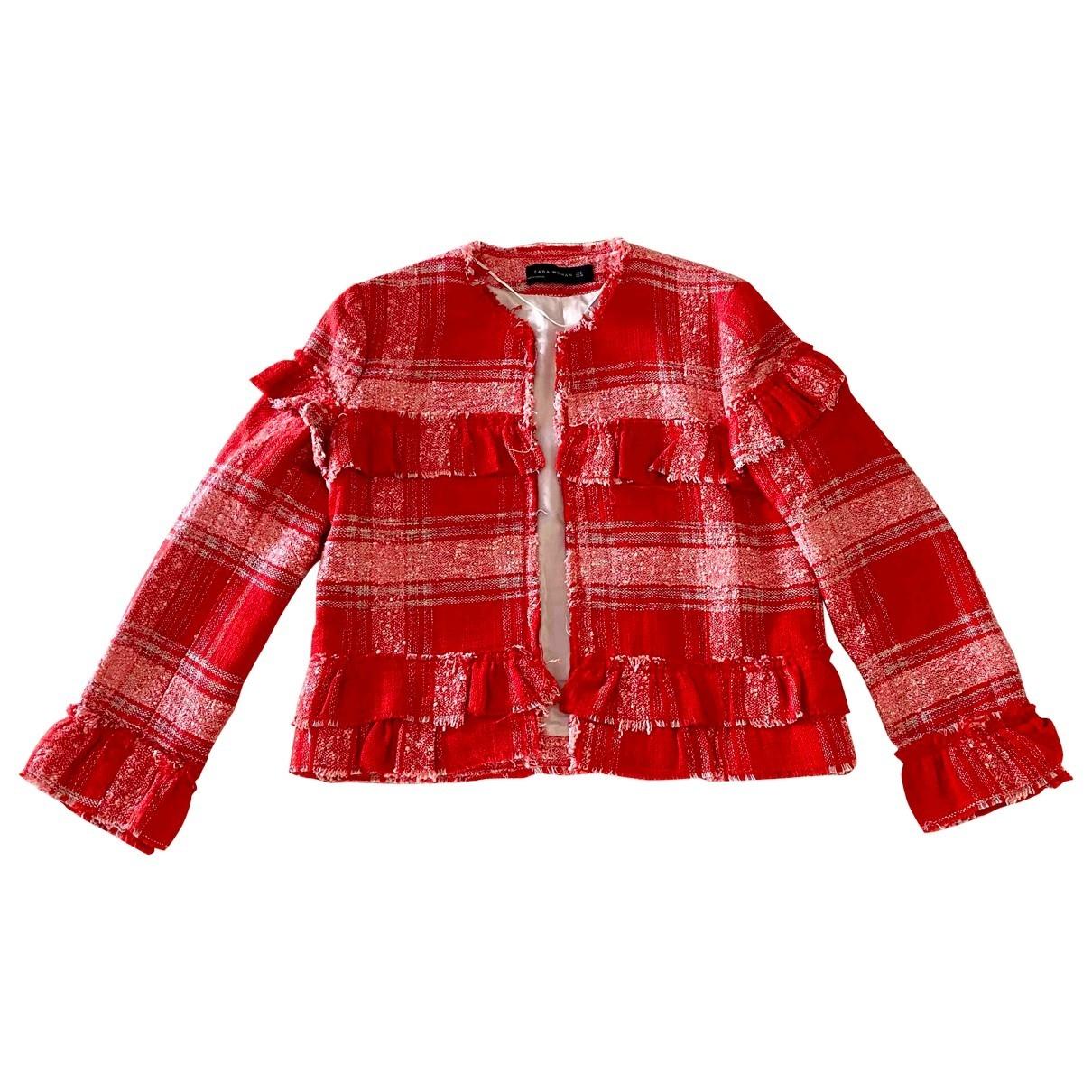 Zara - Veste   pour femme en coton - rouge