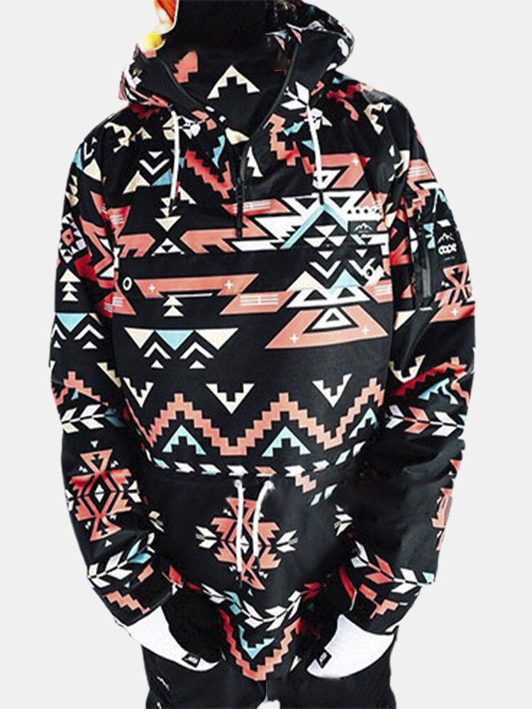 Color Block Print Drawstring Plus Size Hoodie for Women