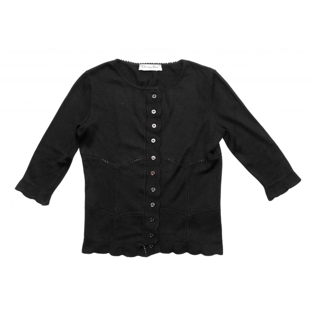 Dior - Pull   pour femme en coton - noir
