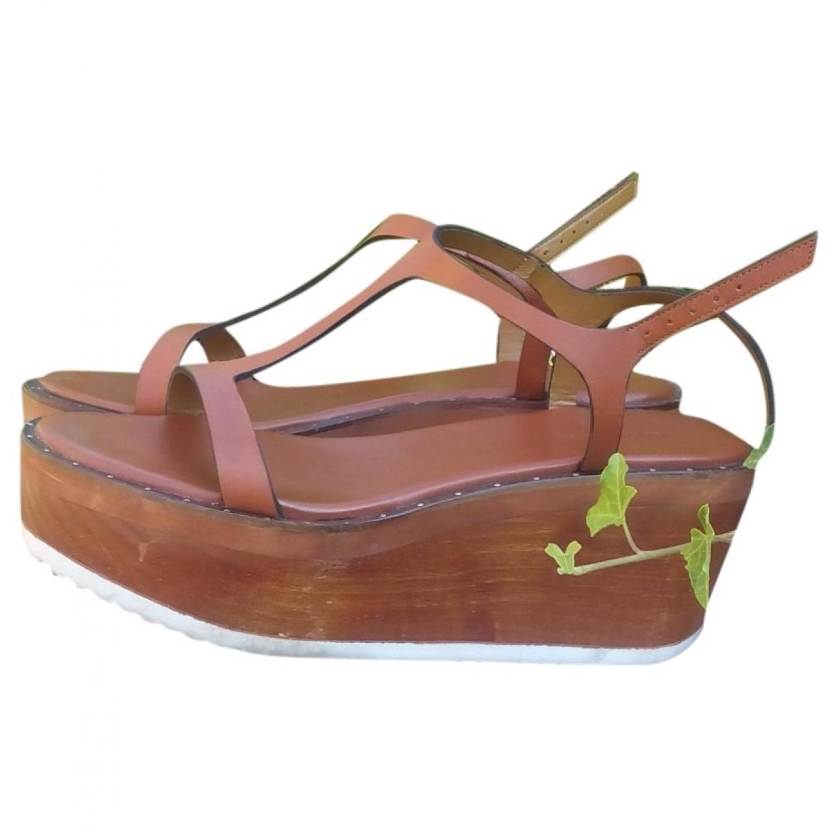 Zara \N Brown Leather Sandals for Women 38 EU