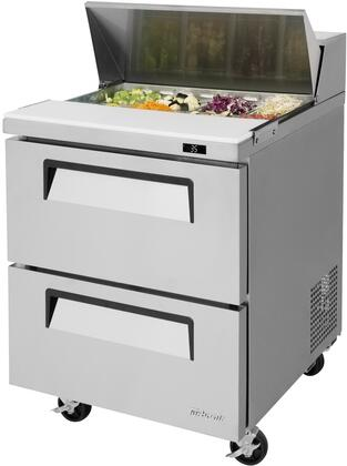 TST-28SD-D2-N 28 Super Deluxe Series Sandwich/Salad Prep Table with 7 cu. ft. Capacity  8 Pans  2 Drawers  Self-Cleaning Condenser and Cold Bunker