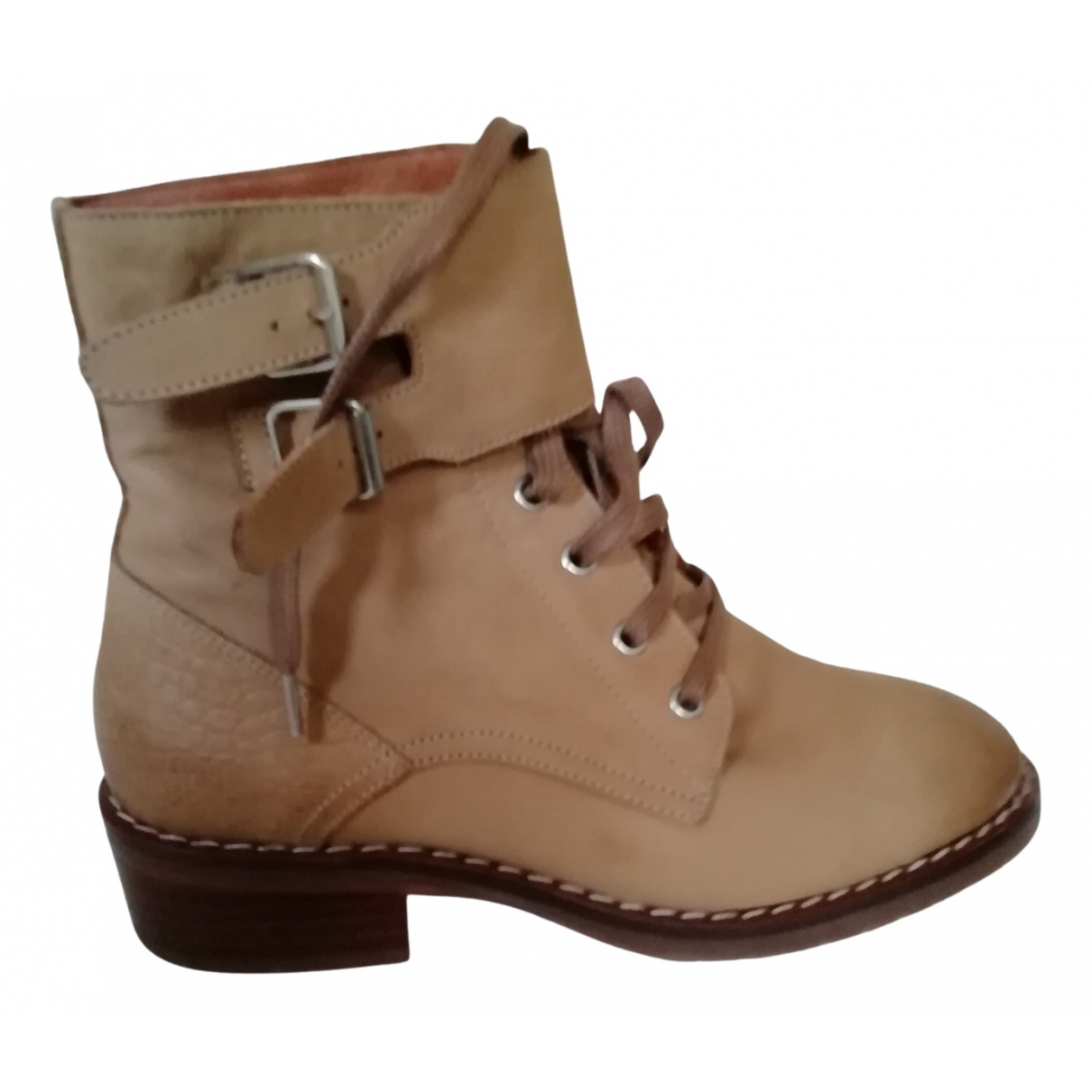 Ikks N Beige Leather Ankle boots for Women 37 EU