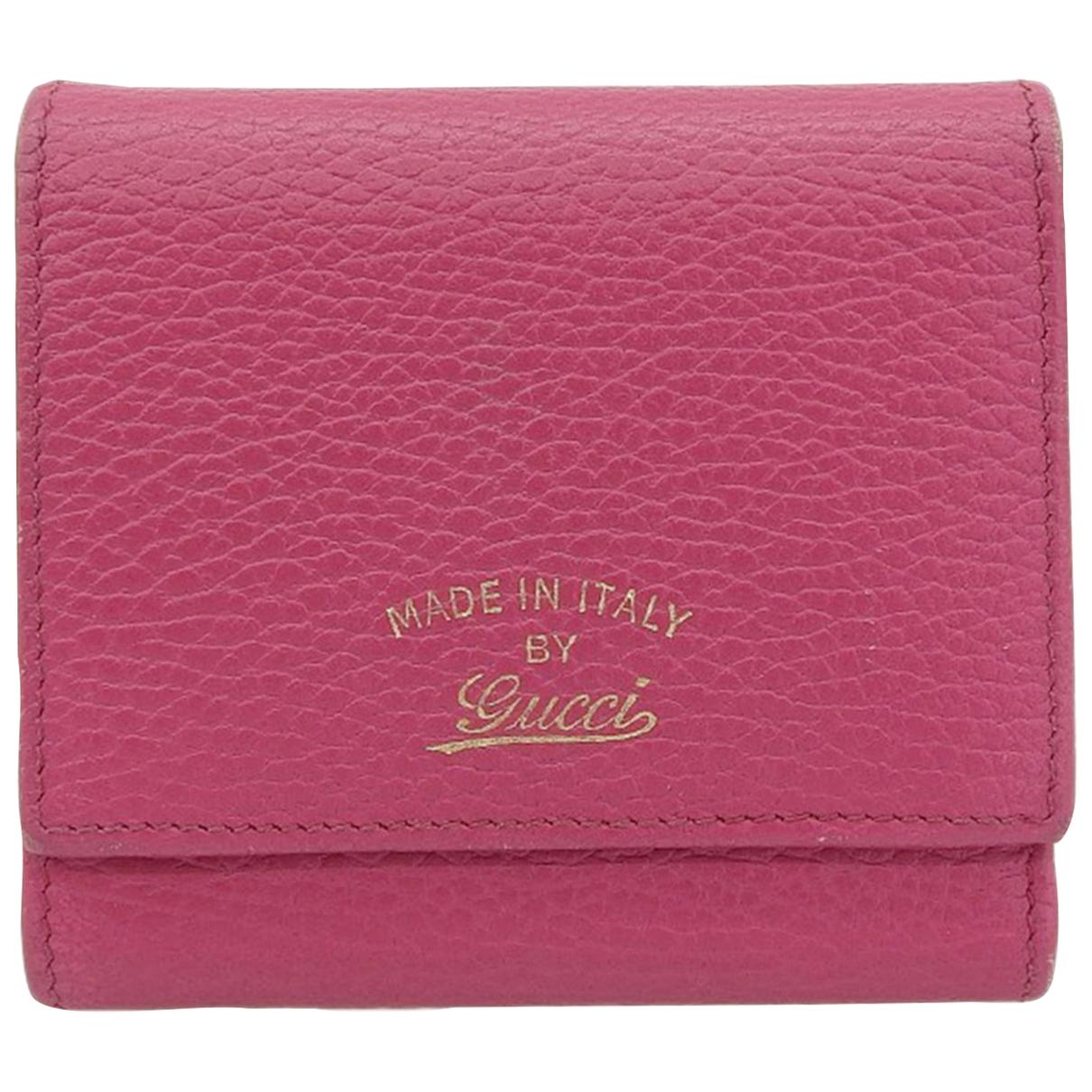Gucci - Portefeuille   pour femme en cuir - rose