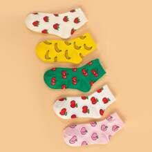 5 pares calcetines con patron de fruta