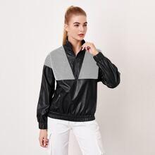 PU Leder Anorak Jacke mit Netzstoff Einsatz