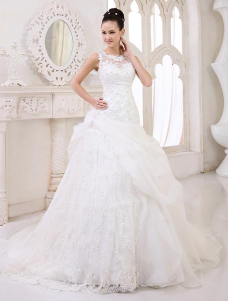 Milanoo Vestido de novia de organza con escote redondo de cola capilla
