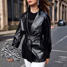 Notch Collar Raglan Sleeve Buckle Belted PU Leather Coat