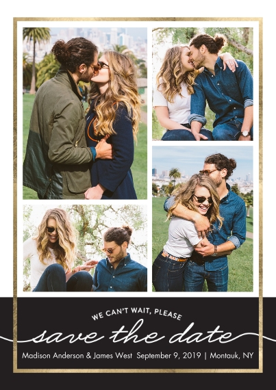 Save the Date Flat Glossy Photo Paper Cards with Envelopes, 5x7, Card & Stationery -Save the Date Gold Frame
