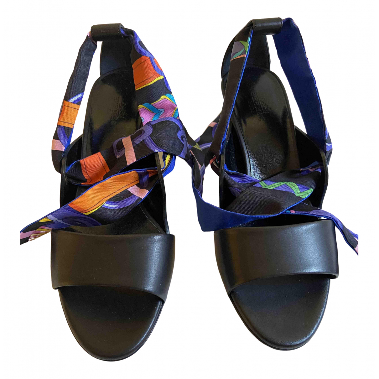 Hermès Première Black Leather Sandals for Women 37 EU