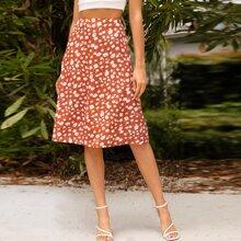 Falda linea A con estampado de flor