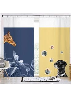 Modern Style Navy and Yellow Animals 3D Painted Custom Semi-blackout Curtains