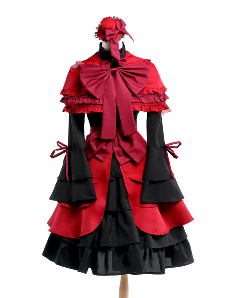 Milanoo Halloween K Kushina Anna Cosplay Disfraz Rojo Gotico Vestido Lolita