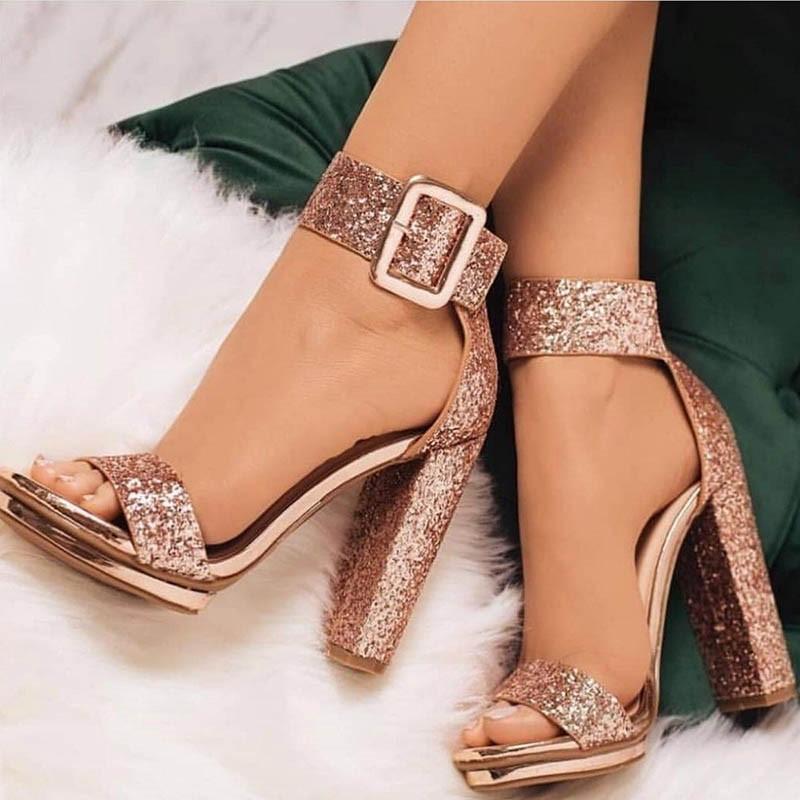 Ericdress Open Toe Line-Style Buckle Heel Sandals
