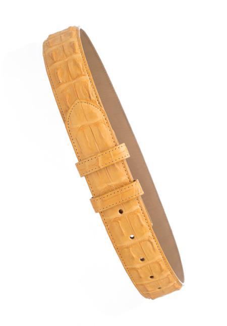 Men's Genuine Buttercup Hornback Crocodile Skin 1 1/2'' width Belt