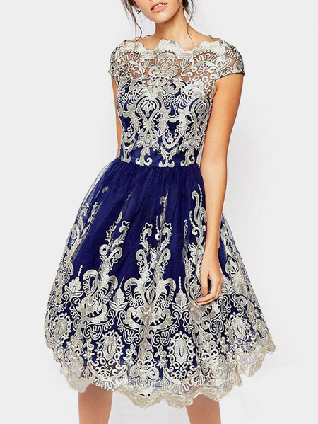Yoins Navy Crochet Lace Insert Hollow Big Hem Party Dresses
