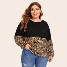 Plus Leopard Contrast Long Sleeve Tee